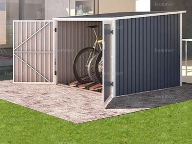 Metal Bike Store 369 - Double Doors, Galvanized Steel