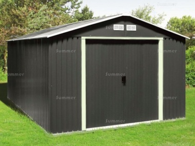 Metal Shed 378 - Apex Roof, Double Door, Galvanized Steel