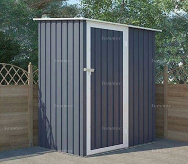 Metal Shed 387 - Pent Roof, Hinged Door, Galvanized Steel