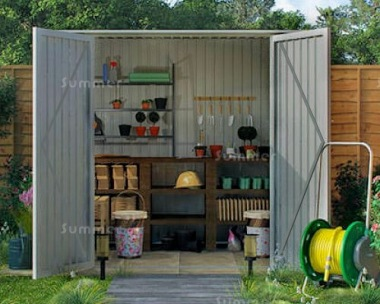 Pent Metal Shed 389 - Hinged Double Doors, Galvanized Steel