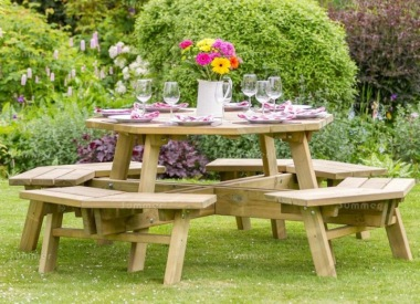 8 Seater Octagonal Picnic Table 846 - Pressure Treated