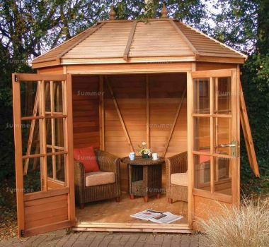Cedar Octagonal Summerhouse 102 - Georgian, Toughened Glass