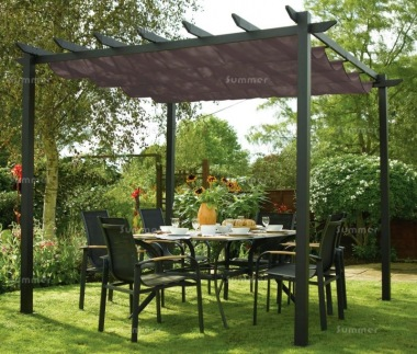 metal gazebo 442 pergola aluminium retractable awning. Black Bedroom Furniture Sets. Home Design Ideas