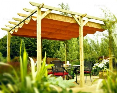 Wooden Gazebo 452 - Pergola, Retractable Awning