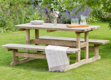 6 Seater Picnic Table 854 - 5ft Benches, Pressure Treated