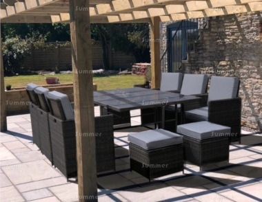 10 Seater Rattan Cube Set 307 - Steel Frame, Compact Storage