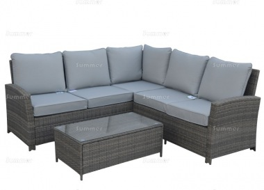 6 Seater Rattan Lounge Set 410 - Steel Frame, 100mm Cushions