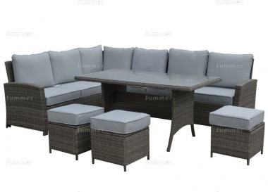 9 Seater Rattan Dining Set 418 - Steel frame, 100mm Cushions