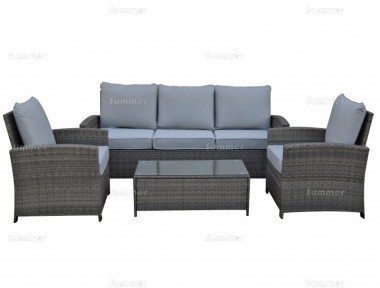 5 Seater Rattan Lounge Set 430 - Steel Frame, 100mm Cushions