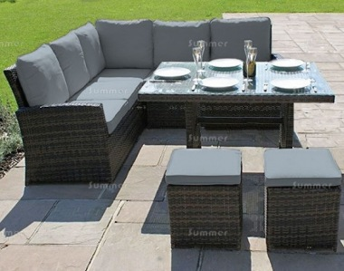 7 Seater Rattan Dining Set 615 - Aluminium frame, 100mm Cushions