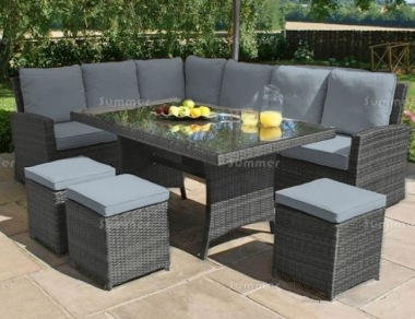 9 Seater Rattan Dining Set 619 - Aluminium frame, 100mm Cushions