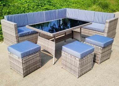 9 Seater Rattan Dining Set 234 - Steel Frame, 80mm Cushions