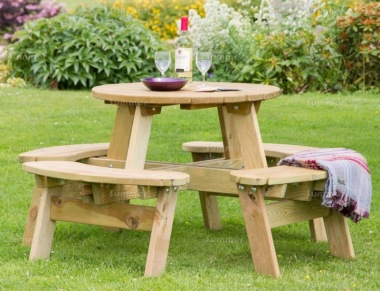8 Seater Round Picnic Table 844 - 2ft 7in Table, Pressure Treated