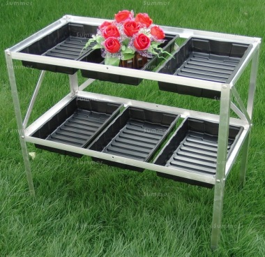 2 Tier Galvanized Steel Seed Tray Frame 394 - 6 Seed Trays