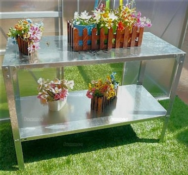 2 Tier Galvanized Steel Tray Staging 387