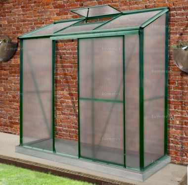 Aluminium Lean To Greenhouse 310 - Polycarbonate, Silver or Green Finish