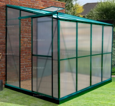 Aluminium Lean To Greenhouse 336 - Polycarbonate, Silver or Green Finish