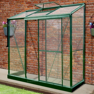 Aluminium Lean To Greenhouse 340 - Toughened Glass, Silver or Green Finish