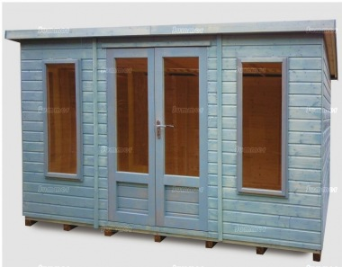 Pent Summerhouse 177 - Low Level Glazing, Double Door