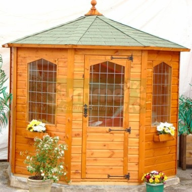 Leaded Octagonal Summerhouse 165 - Shiplap, Single Door