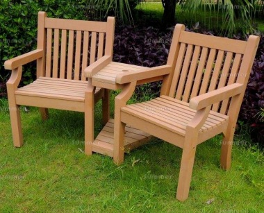 Synthetic Wood Love Seat 082 - Teak Finish, Maintenance Free