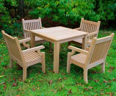 Synthetic Wood 4 Seat Dining Set 250 - Teak Finish, Maintenance Free