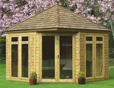 Corner Summerhouse 98 - Large Panes, Double Door