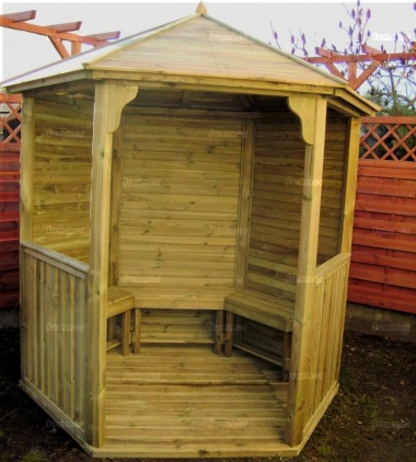Gazebo 210 - Hexagonal, Pressure Treated, Slatted Roof