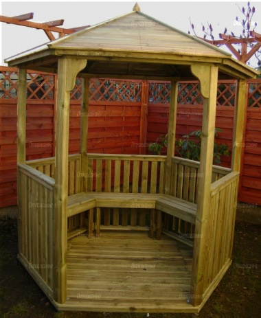 Gazebo 211 - Hexagonal, Pressure Treated, Slatted Roof