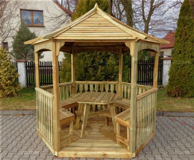 Gazebo 231 - Hexagonal, Pressure Treated, Slatted Roof