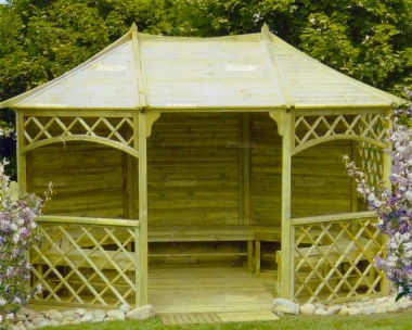 Gazebo 438 - Octagonal, Pressure Treated, Benches