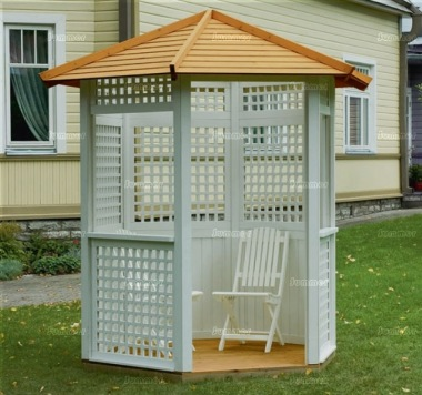 Gazebo 430 - Painted, Hexagonal, Slatted Roof