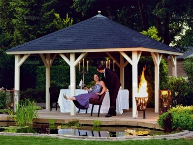 Wooden Gazebo 322 - Hipped Roof, Felt Tiles