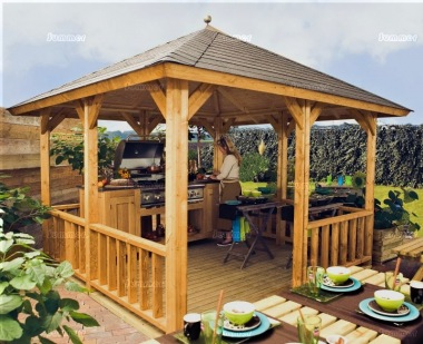 Wooden Gazebo 326 - Hipped Roof, Felt Tiles