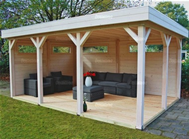 Wooden Gazebo 369 - Pent Roof, Walls with Windows