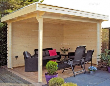 Wooden Gazebo 679 - Pent Roof, Fully Boarded Walls