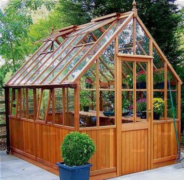 Cedar victorian greenhouse 630 part boarded hinged door for Victorian style greenhouse