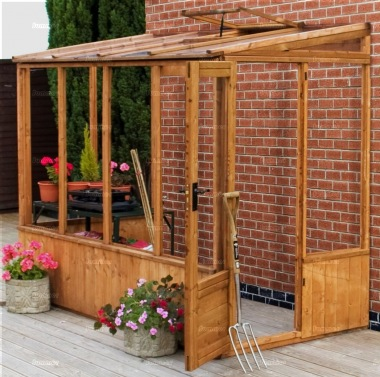 Wooden Lean to Greenhouse 291 - Part Boarded, Hinged Door
