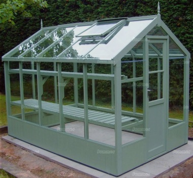 Painted Wooden Greenhouse 211 - Thermowood, Toughened Glass