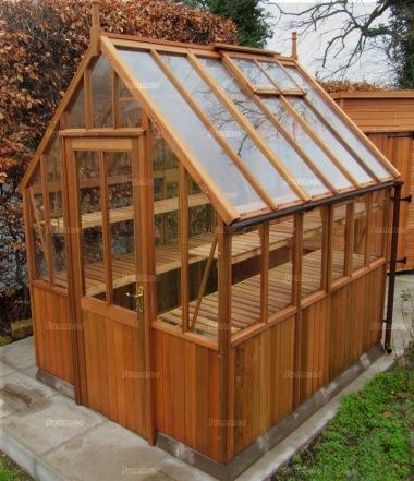 Cedar Victorian Greenhouse 591 Part Boarded Hinged Door