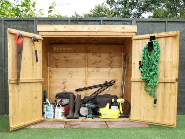 Pent Roof Small Storage Shed 212 - Pressure Treated, Double Door