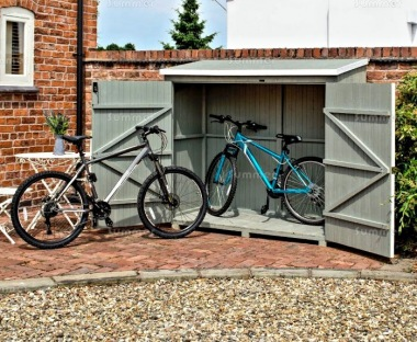 Pent Roof Small Storage Shed 372 - Grey Wash Paint Finish
