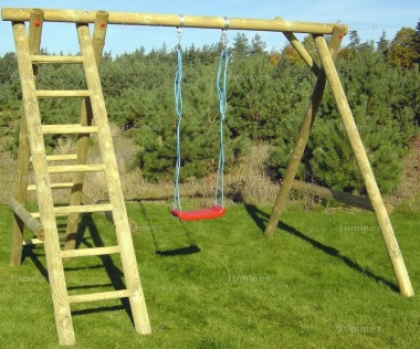 Wooden Swing Set 615 - Single Swing, 2 Ladders, Pressure Treated
