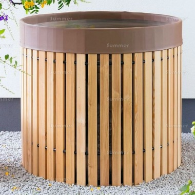 Water Butt, 3ft 3in Diameter - Wooden Slatted, 600 Litre