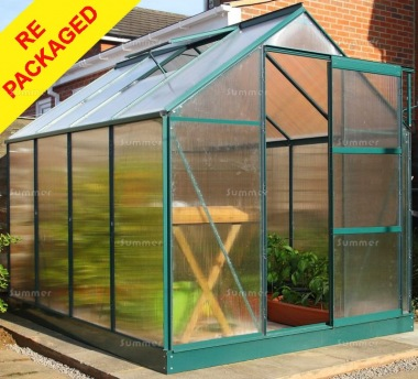 Repackaged Aluminium Greenhouse 025 - Green, Polycarbonate