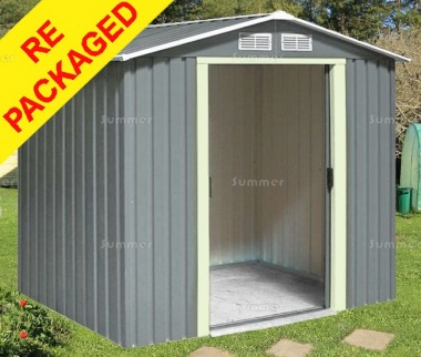 Repackaged Apex Metal Shed 370 - Double Door, Galvanized Steel