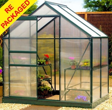 Repackaged Aluminium Greenhouse 103 - Green with Polycarbonate
